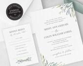 Leafy Greenery Wedding Invitation, Wedding Invitation template, Wedding Invitation Printable, Watercolour, leafy, greenery, floral, Missy