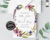 Floral Watercolor Save the Date Invitation, Wedding Invitation template, Save the Date Printable, Invitation, Editable Invitation, Ella
