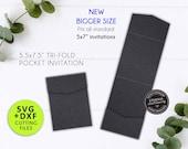 "5.5 x7.5"" Pocket Invitation Template, Fits 5x7"" invitations, Laser Cut Pocket SVG, DXF, cut file, tri fold card, pocket envelope, Cricut"