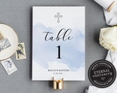 Baptism Table Numbers Card, Table Card template, Table Number Template, Table Number Wedding, Modern Calligraphic table number, Rocco
