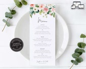 Soft Floral Watercolor Menu Template, Blush flowers, Editable Menu, Wedding Menu, Birthday, Christening, Baptism, Dinner, Stephanie