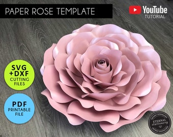 Large Paper Rose Template, PDF, SVG, DXF, Paper Flowers, Rose Template, Flower backdrop, Paper Flower Printable, Paper Rose Svg, Template 2