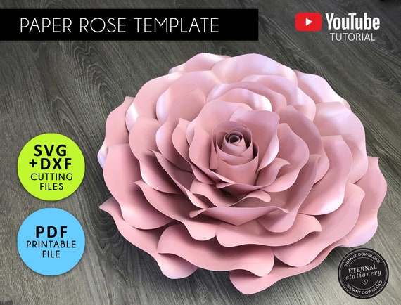 DIY Free Standing 24 Medium Rose Paper Flower Wedding and Event Centerpiece 5 Tutorials /& Svg Png And Pdf Paper flowers Templates
