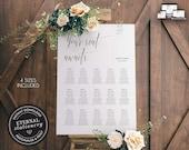 Modern Minimalist Seating Chart Template, editable wedding seating chart, Poster Size, Printable Seating Sign, guest seating chart, Brigitte