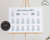 Modern Indian Seating Chart Template, elephant, editable wedding seating chart, Poster, Printable Seating Sign, guest seating chart, Chandi