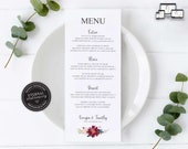 Elegant Floral Menu Template, Watercolour posy, Editable Menu, Wedding Menu, Birthday, Christening, Baptism, Dinner menu, Georgia