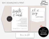 Pocket Wedding Invitation Suite, modern, typography, Wedding Invitation template, Printable, Editable, pocketfold, pocket folio, Brigitte