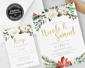 Christmas Wedding Invitation Template, Floral Wedding Invitation, Printable, Christmas Floral Invitation, Christmas watercolor, Nicole