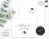 Editable A7 and A1 Envelope Addressing Template, Wedding Addressed Envelope, DIY Envelope Template for Wedding, Return Address, Elizabeth