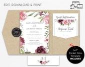 Pocket Wedding Invitation Suite, Floral, roses, watercolour, Wedding Invitation template, Editable, pocketfold, pocket folio, flowers, Alina