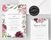 Floral Rose Wedding Invitation, Wedding Invitation template, Wedding Invitation Printable, Editable, Watercolour, Roses, greenery, Alina
