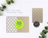 "5x7"" Laser Cut Card Template, Laser cut Invitation template, wedding invitation, birthday card, 5x7 card, SVG, DXF, Cricut, Moroccan"