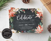 Editable Christmas Party Invitation Template, Christmas Invitation Printable, Editable Invitation, Let's celebrate the season, Holiday, 015