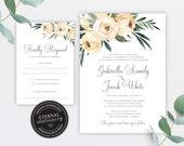 Floral Rose Wedding Invitation, Wedding Invitation template, Wedding Invitation Printable, Editable, Watercolour, Roses, greenery, Gabriella