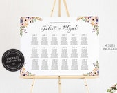 Floral Seating Chart Template with calligraphy, editable wedding seating chart, guest seating chart, Printable Signage, Juliet