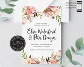 Floral Watercolor Save the Date Invitation, Wedding Invitation template, Save the Date Printable, Editable Invitation, roses, Elsie