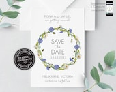 Rustic Floral Wreath Save the Date Invitation, floral, Save the Date Printable, Invitation, Editable, boho, daisies, wildflowers, Fiona