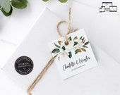 Elegant Magnolia Gift Tag template, bonbonniere tags, wedding favour tag template, printable gift tags, thank you, Chantelle