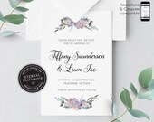 Floral Watercolor Save the Date Invitation, Wedding Invitation template, Save the Date Printable, Invitation, Editable Invitation, Tiffany