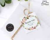 Floral Wreath Gift Tag template, bonbonniere tags, wedding favour tag template, printable gift tags, thank you, bridal shower, Ella