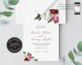 Floral Save the Date, Red Flowers, White roses, Wedding Invitation template, Printable, Invitation, Watercolor Flowers, botanical, Rosalie