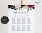 Floral Seating Chart Template with Eucalyptus, editable wedding seating chart, Printable Seating Sign, navy, burgundy, roses, Elizabeth