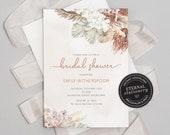 Boho Bridal Shower Invitation Template, Pampas Grass, Bohemian, Boho Chic, Bridal Shower Printable, Boho Invites, Neutral Florals, Emily