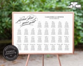 Modern Calligraphy Seating Chart Template, printable seating chart, Minimalist, Printable Seating Sign, guest seating chart, Cassandra