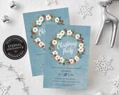 Editable Wreath Christmas Party Invitation Template, Christmas Invitation Printable, Editable, Instant Download, Holiday Invitation, 009