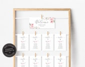 Floral Cherry Blossom Seating Chart Template, sakura, editable wedding seating chart cards, Printable Sign, guest seating chart, Harriet