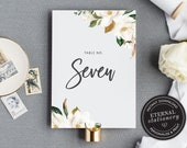 Table Number Template, Greenery Table Number, Magnolia Table Number wedding, Printable Wedding Table Numbers Template, Botanical, Chantelle