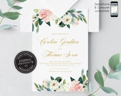 Blush Pink Floral Save the Date Card, eucalyptus, Wedding Invitation template, Printable, Invitation, Floral Watercolor, botanical, Caroline