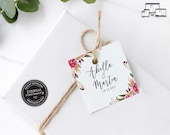 Floral Gift Tag template, bonbonniere tags, wedding favour tag template, printable gift tags, thank you, bridal shower tags, Abella
