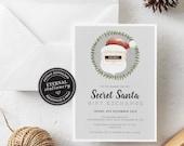 Editable Secret Santa Christmas Party Invitation Template, Christmas Invitation Printable, Kris Kringle, Gift Exchange, White Elephant, 016