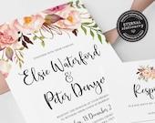 Floral Wedding Invitation, Wedding Invitation template, Invitation Printable, Invitation, Editable Invitation, watercolor, boho, Elsie