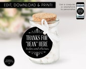 Editable Round Favour Tag template, bonbonniere tags, wedding favour tag, gift tags, thank you, thanks for bean here, coffee bean tags