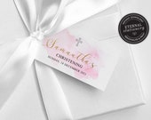Christening Favour Tag template, Girl Baptism bonbonniere, Girl christening bonbonniere tag, baptism bonbonniere tag, gift tags, Samantha