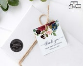 Navy and Burgundy Floral Gift Tag template, bonbonniere tags, wedding favour tag template, printable gift tags, thank you, Elizabeth
