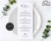Elegant Floral Menu Template, Boho, Watercolour, Editable Menu, Wedding Menu, Birthday, Christening, Baptism, Dinner menu, Ella