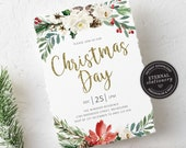 Editable Floral Christmas Day Party Invitation Template, Christmas Lunch Invitation Printable, Editable Invitation, Instant Download, 011