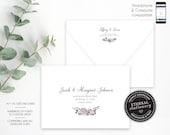 Editable A7 and A1 Envelope Addressing Template, Wedding Addressed Envelope, DIY Envelope Template for Wedding, Return Address, Tiffany