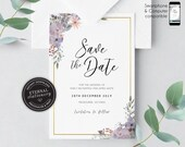 Floral Save the Date Invitation, floral watercolour, Save the Date Printable, Invitation, Editable Invitation, flowers, gold foil, Karly