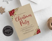 Editable Christmas Party Invitation Template, Rustic Christmas Invitation Printable, Editable, Instant Download, Holiday Invitation, 002