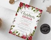 Editable Floral Christmas Dinner Invitation Template, Christmas Invitation Printable, Editable, Instant Download, Holiday Invitation, 004
