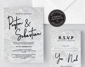 Marble Wedding Invitation Template, Modern Wedding Invitation template, Wedding Invitation Printable, Editable Invitation, Peyton