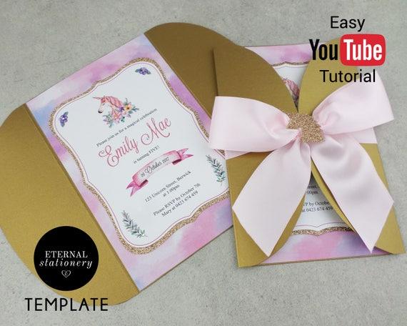 Diy Unicorn Birthday Party Invitation Editable Template Etsy