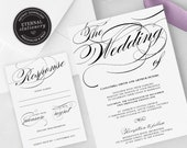 Elegant Calligraphy Wedding Invitation Template, Wedding Invitation template, Wedding Invitation Printable, Editable Invitation, Cassandra