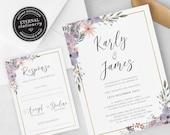 Floral Frame Watercolor Wedding Invitation, Wedding Invitation template, Wedding Invitation Printable, Editable Invitation, Karly
