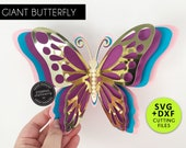 Giant 3D Butterfly SVG Template, Paper Butterfly SVG, DXF, butterfly wall decor, 3D butterfly nursery decor, butterfly svg for Cricut
