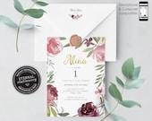 1st Birthday Invitation, template, Printable, 5th, 1st, floral, girl birthday invitation, watercolor, boho 1st birthday invitation, Alina